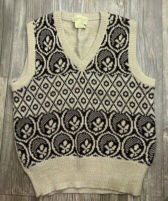 Vintage Retro Mens Sweater Vest V-Neck Tan Brown Gold Geometric Print Size S/M?