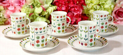 "Emilio PUCCI for Rosenthal, ""Piemonte"" Cups/Saucers (5)"