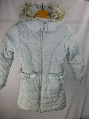 5-6yrs Girls Winter Coat Silver Grey with fleecy lining & fur trim hood