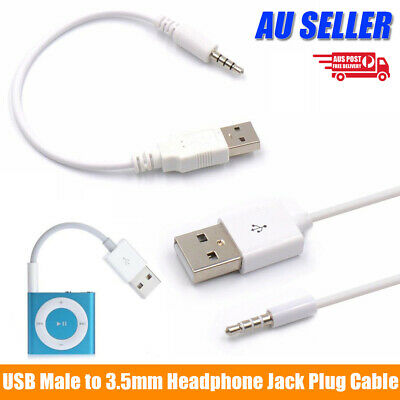 USB Male to 3.5mm Audio Jack Plug Data Sync Charger Cable For Apple iPod MP3 MP4