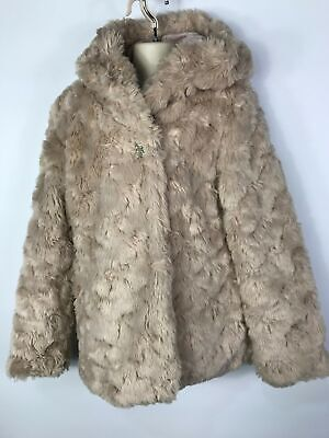 Girls Marks & Spencer Mink Colour Faux Fur Hooded Winter Coat Size 11-12 Years