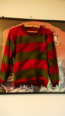 Unisex Kids Freddy Krueger Weathered Jumper Halloween Fancy Dress Size 11/12Yrs