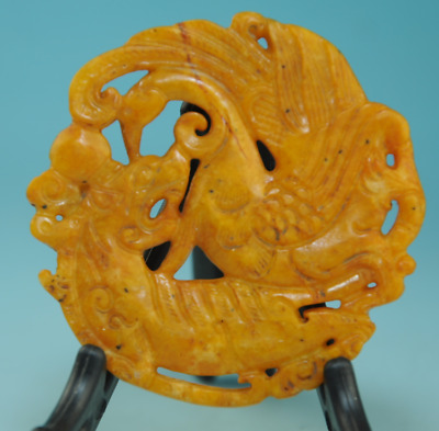 Collect chinese old jade Handwork Dragon and phoenix Statue amulet pendant 0211