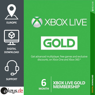 XBOX Live Gold Membership 6 Months for EU | Microsoft Xbox ONE | Code per e-mail