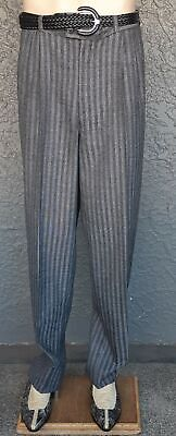 """Pinstriped gathered front pant, 1980's, Wool/ polyester, size 38"""""""