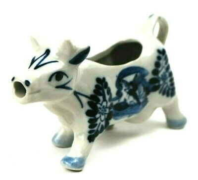 Vintage Delft Bleu Hand Painted Cow Creamer Blue White Ceramic