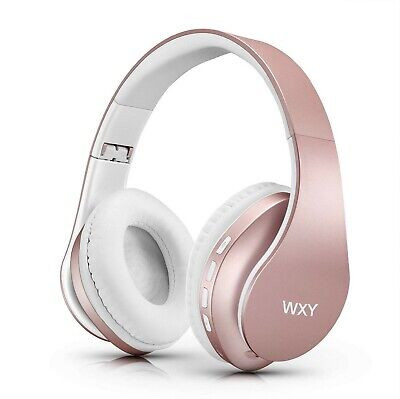 Wireless Bluetooth Headphones Over Ear, Stereo Wired Headsets - Rose Gold