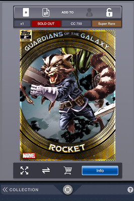 Topps Collect Guardians of the Galaxy 2nd Printing Rocket CC 750 Sold Out Card