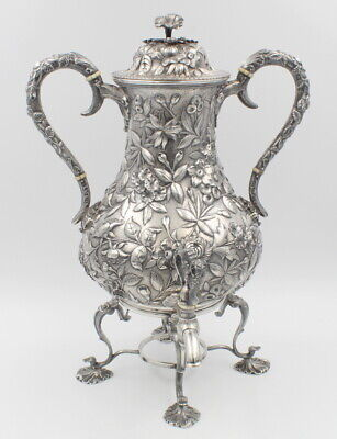 Sterling Silver S. Kirk & Sons Antique Repousse Hot Water Urn Large No Res #6842