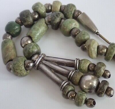 Vintage Mexican Sterling Silver Ancient Pre Columbian Mayan Jade Bead Necklace