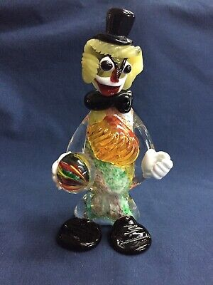 Vintage Italian Murano Multicolored Glass Clown Figurine with Ball