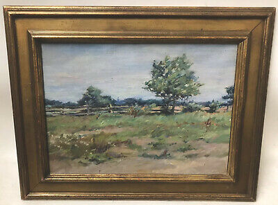 Antique American Impressionist Landscape Long Island New York Oil Painting