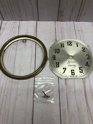 Vintage Antique Smaller Sessions Banjo Clock Face Brass Bezel Screws Parts 5.5""