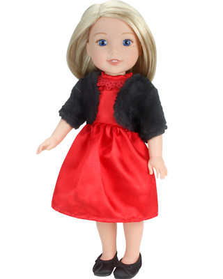 """Red Holiday Dress Shrug Shoes Doll Clothes Fits 14.5"""" Girl Wellie Wishers Dolls"""