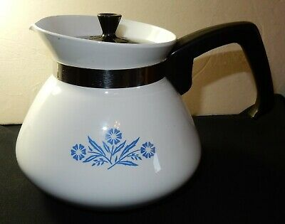 Vintage Blue Cornflower Corning Ware 6 cup P-104  Coffee, Tea Pot With Lid