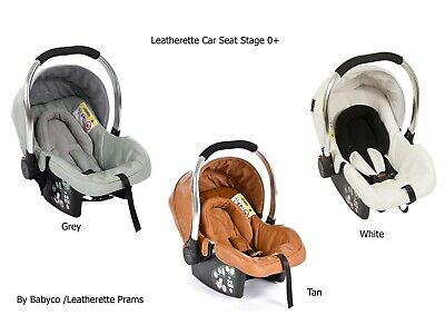 Baby Car Seat Leatherette  Stage 0+ White Pink Grey
