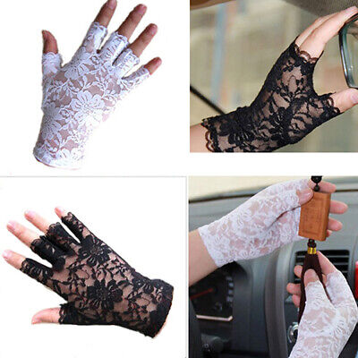 JW_ Women Gothnic Party Black White Dressy Lace Gloves Fingerless Mittens Newl