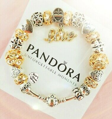 Authentic Pandora Charm Bracelet Silver with Love Story European Charms