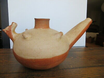 REPRO Vintage Mississippian Quapaw Effigy Dog Teapot Red Pottery Vessel Pot Jar