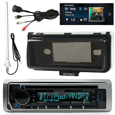 Kenwood Boat Bluetooth CD Receiver, Cover, USB/AUX Input, SiriusXM Tuner,Antenna