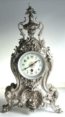 Antique French Mantle Clock Beautiful 1880s Silvered Embossed Pierced Bronze
