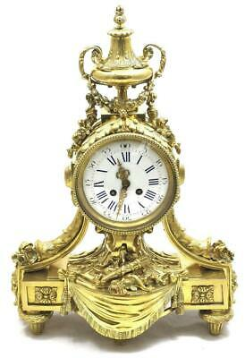 Antique Mantle Clock Breath taking Gilt Bronze 8 Day Bell Striking 1870 S.Marti