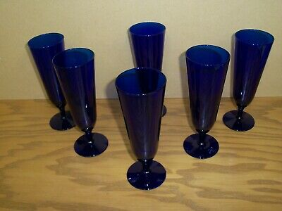 Cobalt Blue Stemware (Set Of 6) Wine / Champagne / Mimosa Glasses Very Beautiful
