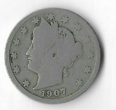 Rare Very Old Antique 1907 US Liberty V Nickel Collection Coin USA 5 Cent Money