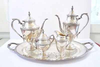 Castleton_Six Piece Tea & Coffee Set_LOCAL PICKUP_Silverplate_Rope_Vtg. Mid-Cen.
