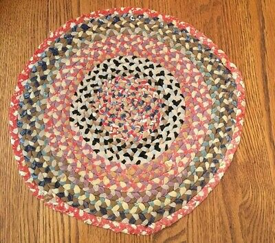 Vtg BRAIDED RAG RUG TABLE CANDLE MAT PRIMITIVE HAND WOVEN