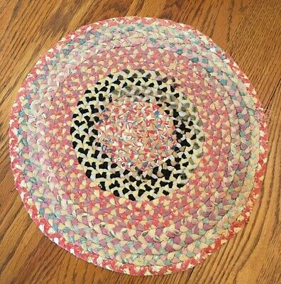 Antique Vintage Braided Rag Rug Table Candle Mat Primitive Hand Woven