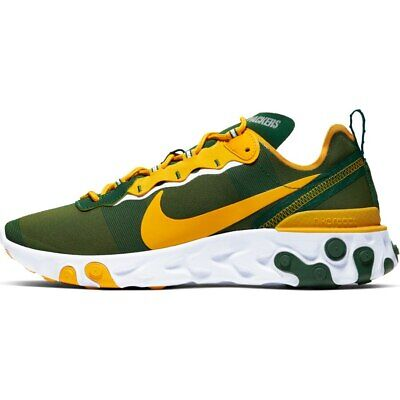 Brand New 2019 NFL Green Bay Packers Nike React Element 55 Sneakers Shoes NIB