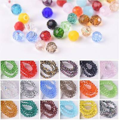 200pcs 3mm Round Faceted Sphere Crystal Glass Ball Loose Spacer Beads Lot