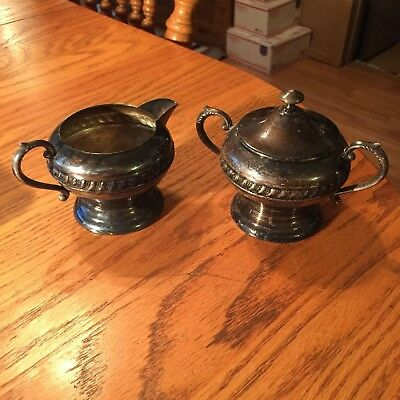 VIntage SILVER ON COPPER ~ SUGAR BOWL / LID & CREAMER PITCHER !