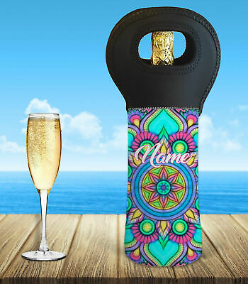 Personalised Mandala Wine Bottle Cooler Carry Bag