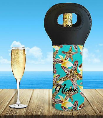 Personalised Starfish Frangipani Wine Bottle Cooler Carry Bag