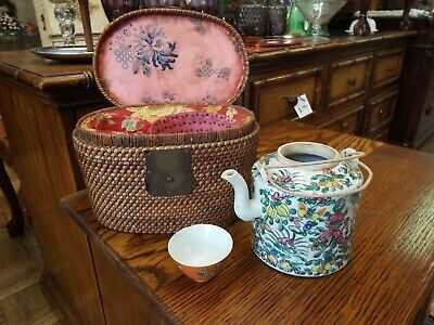 Antique Rose Famille Chinese Teapot & Cup In Carrying Basket