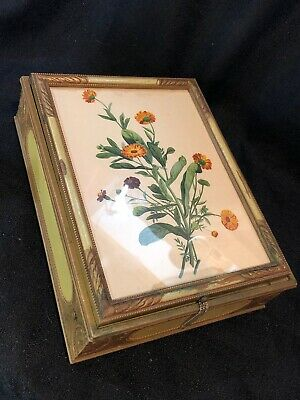 Antique  Victorian Print Mirrored Handmade Carved Glass Sectioned Jewelry Box
