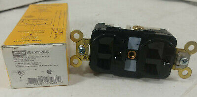 1 New Hubbell Hbl5362Bk Duplex Receptacle 20A 125V 2P 3W Grnd Nib **Make Offer**