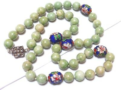 CHINESE VINTAGE Apple GREEN JADE 10mm BEAD NECKLACE, STERLING CLASP, 93 grams