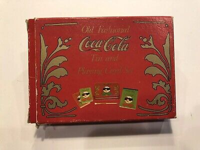 Old Fashioned Coca Cola Tin and Playing Card Set