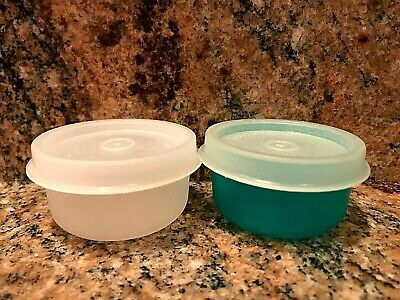 Two Vintage Tupperware Smidgets Mini Bowl Container With Lid 1 oz, Sheer & Green
