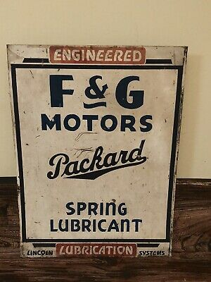 Vintage 1930's F&G Motors PACKARD Lincoln Systems Lubrication Metal Gas Oil Sign