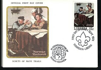 """Liberia 1979 Norman Rockwell Scouting """"SCOUTS OF MANY TRAILS"""" SC # 853-857 FDC"""