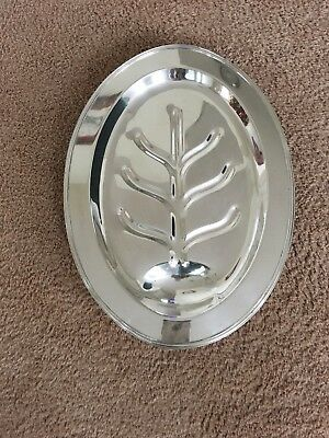 Vintage EPNS Footed Silver Plate Meat Tray - Large & Solid - 19""