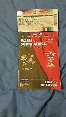 Wales v South Africa rugby programme 2000 with original ticket.
