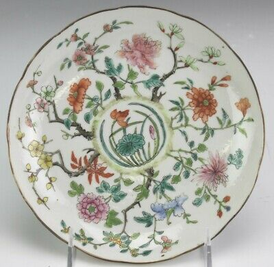 VTG Chinese Export Hand Painted Floral Blossom Famille Rose Porcelain Dish SMS