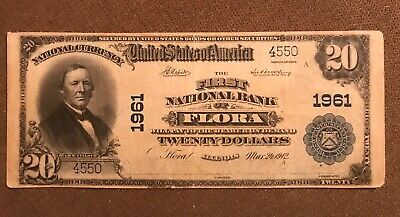 Flora Illinois , The First National Bank  1902 PB $20 , fine