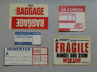 ANSETT .. Original Vintage 1980,s Airline Baggage stickers