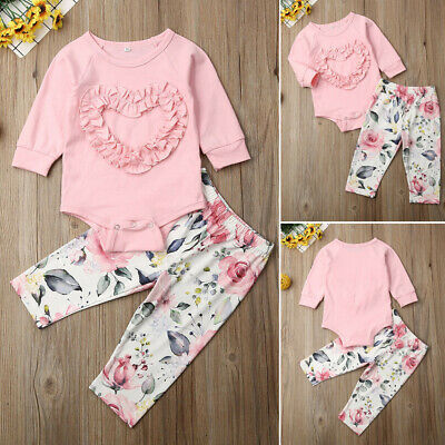 Newborn Baby Girl Cotton Tracksuit Clothes Ruffle  Romper Floral Pants Outfits